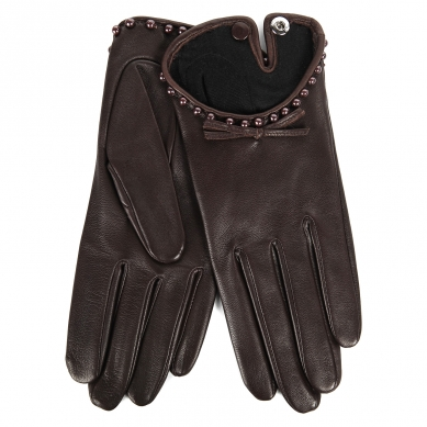 Перчатки AGNELLE JOSIE/AGN/PEARL/S бордово-коричневый
