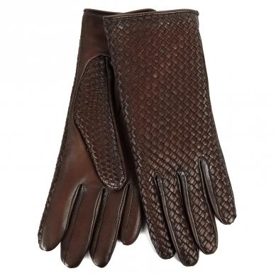 Перчатки AGNELLE CHLOE/BRAIDPAT/W темно-коричневый