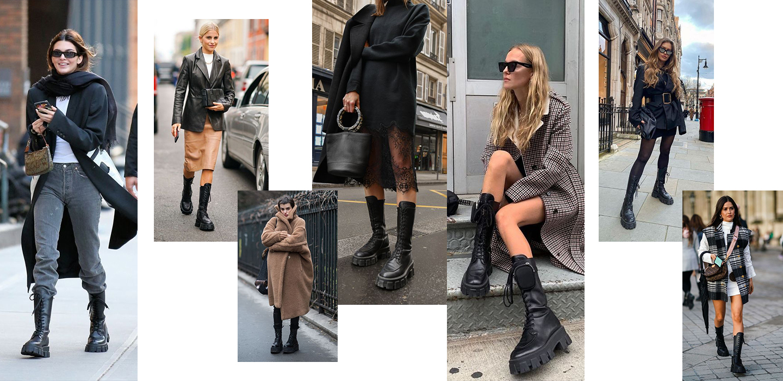 С чем носить сапоги и высокие ботинки на шнуровке